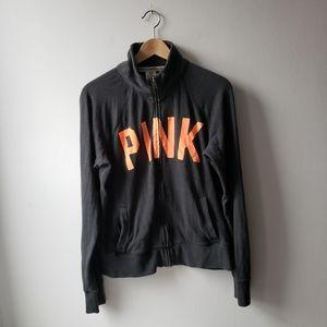 Victoria's Secret Pink Grey Zip Up Jacket Logo